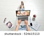 woman watching online tutorial... | Shutterstock . vector #524615113