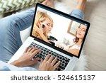 woman watching online tutorial... | Shutterstock . vector #524615137