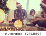 young family on christmas... | Shutterstock . vector #524625937