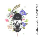 skull. mexican day of the death.... | Shutterstock .eps vector #524631247
