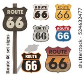route 66 set signs | Shutterstock .eps vector #524632477