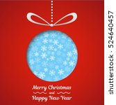 christmas card with bauble on... | Shutterstock .eps vector #524640457