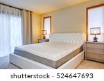 white double bed front view ... | Shutterstock . vector #524647693