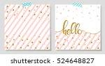 gold glitter typography.hello   ... | Shutterstock .eps vector #524648827