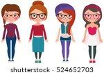 women hipster fashion set four... | Shutterstock .eps vector #524652703
