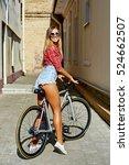 beautiful sport girl on a... | Shutterstock . vector #524662507
