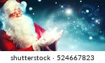 santa claus with magic gift in... | Shutterstock . vector #524667823