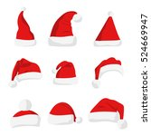santa claus red hat isolated on ... | Shutterstock . vector #524669947
