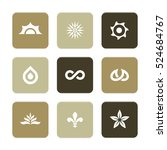 vector flat icons set   nature... | Shutterstock .eps vector #524684767