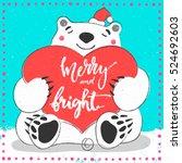 polar white bear merry and... | Shutterstock .eps vector #524692603