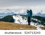 girl tourist with backpack is... | Shutterstock . vector #524713243