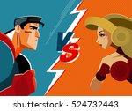 man versus woman. superhero.... | Shutterstock .eps vector #524732443