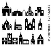 Church Building Icons. Vector...