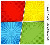 Comic book page background with radial, halftone effects and rays in pop-art style. Blank template in green, yellow, blue and red colors. Vector illustration | Shutterstock vector #524735953