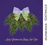 christmas card with fir twigs... | Shutterstock .eps vector #524744113