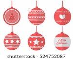 christmas balls flat vector | Shutterstock .eps vector #524752087