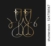champagne glasses. vector... | Shutterstock .eps vector #524758567