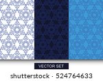 vector. set with snowflakes... | Shutterstock .eps vector #524764633