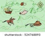 adventure vintage seamless... | Shutterstock .eps vector #524768893