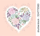cute vintage vector heart shape ...   Shutterstock .eps vector #524775583