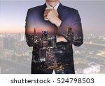 double exposure of businessman... | Shutterstock . vector #524798503