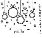 christmas doodle balls in shape ... | Shutterstock . vector #524817523