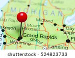 grand rapids pinned on a map of ... | Shutterstock . vector #524823733