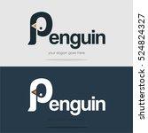 creative cute alphabet penguin... | Shutterstock .eps vector #524824327