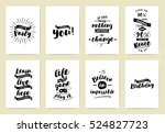set of 8 cards or posters with... | Shutterstock .eps vector #524827723