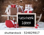 sleigh with gifts  snow ... | Shutterstock . vector #524829817