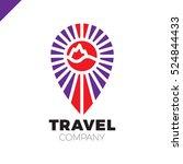 line travel pin logo. sun  sea  ...   Shutterstock .eps vector #524844433