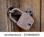 Close Up Of Rusty Padlock On...