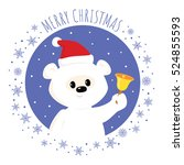 christmas greeting card.... | Shutterstock . vector #524855593