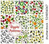 vegetables patterns set.... | Shutterstock .eps vector #524856067