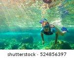 close up of female apnea swims... | Shutterstock . vector #524856397