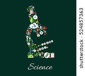 microscope symbol of astronomy  ... | Shutterstock .eps vector #524857363