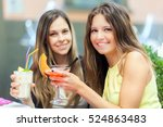 portrait of two friends... | Shutterstock . vector #524863483