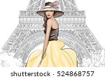 young pretty fashion model with ... | Shutterstock .eps vector #524868757