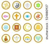 religion vector set in cartoon... | Shutterstock .eps vector #524880937
