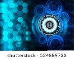 future technology  blue eye... | Shutterstock .eps vector #524889733