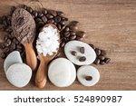 coffee powder and salt scrub ... | Shutterstock . vector #524890987