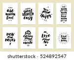 set of 8 cards or posters with... | Shutterstock .eps vector #524892547