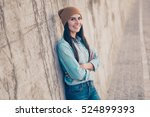 cheerful happy young woman in... | Shutterstock . vector #524899393