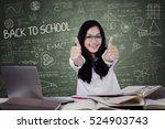 joyful teenage student with... | Shutterstock . vector #524903743