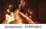 fireplace burning. warm cozy... | Shutterstock . vector #524903863