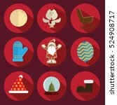 christmas icon vector red... | Shutterstock .eps vector #524908717