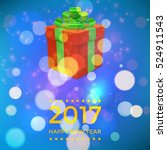 xmas box on bokeh background.... | Shutterstock .eps vector #524911543