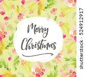 winter watercolor foliage... | Shutterstock . vector #524912917