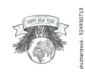 """""""happy new year"""" lettering on...   Shutterstock .eps vector #524930713"""