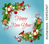 happy new year holiday frames... | Shutterstock .eps vector #524931967